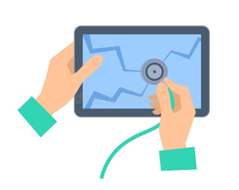 Ręka z stetoskopem examing łamającego pastylka komputer osobistego Remontowy conce ilustracji