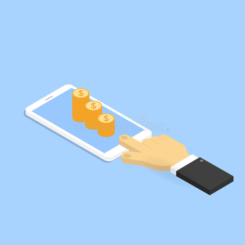 Ręka z telefonem komórkowym i pieniądze ilustracja wektor