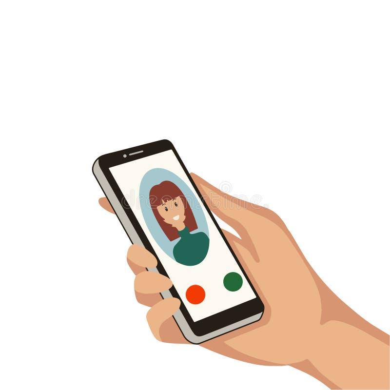 Ręka z telefonem komórkowym Ilustracja wektorowa obraz stock