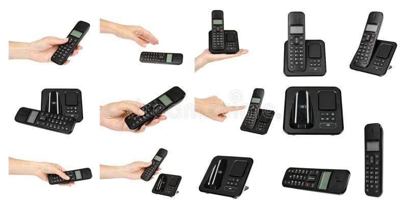 Ręka z telefonem, setem i kolekcją czarnymi biurowymi, fotografia royalty free