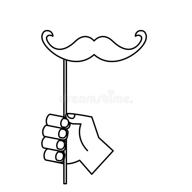 Ręka z wąsy w kiju royalty ilustracja