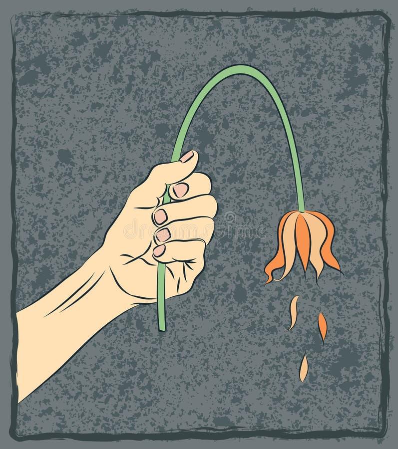 Ręka z Więdnąć kwiatu niepowodzenia i impotenci przeciw royalty ilustracja