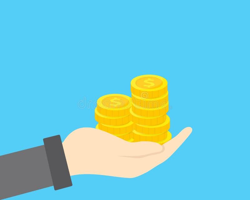 Ręka z złotą monety stertą Pojęcie oszczędzania, darowizna, płaci ilustrację ilustracji