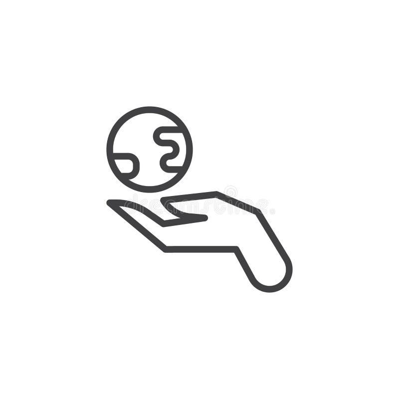 Ręka z ziemską kuli ziemskiej linii ikoną royalty ilustracja