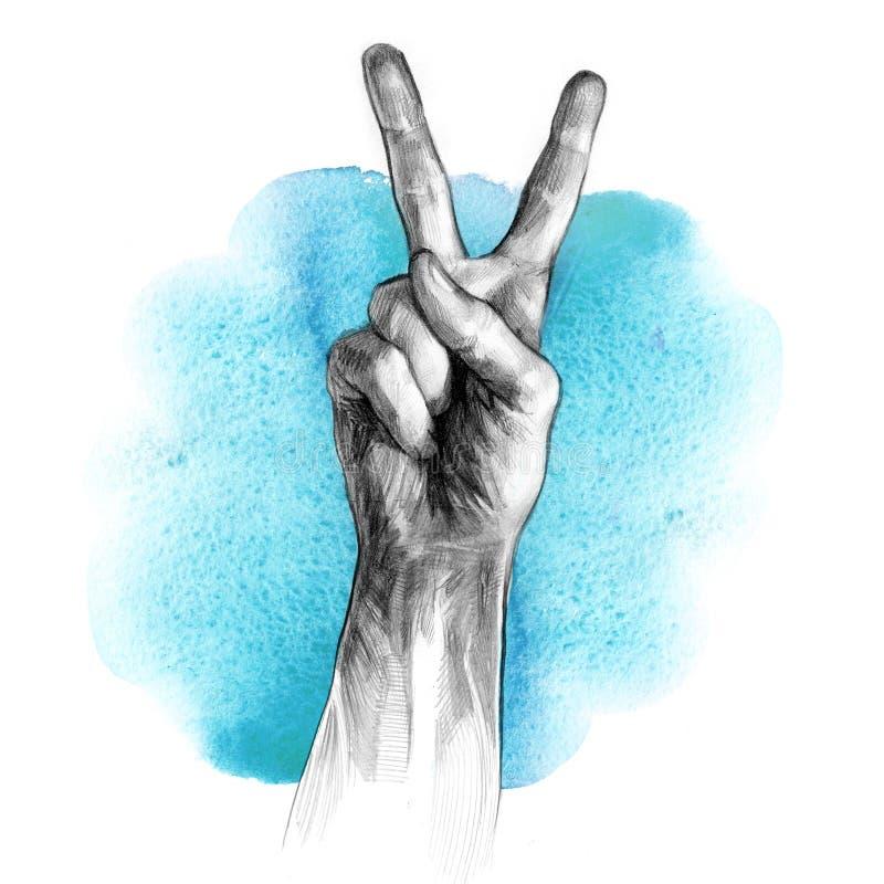 Ręka z zwycięstwo znakiem royalty ilustracja