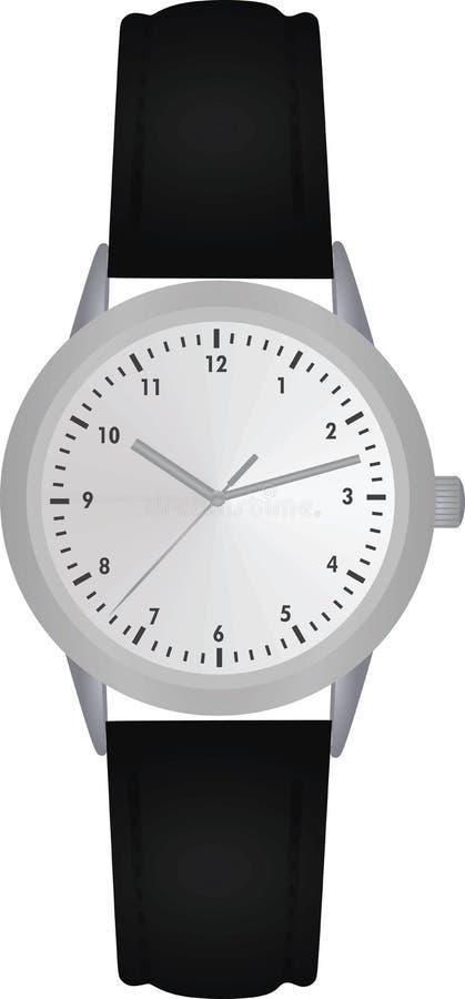 Ręka zegarek z analogowym zegarem ilustracji