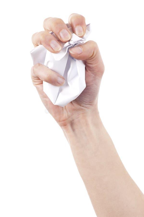 ręka zmięty papier zdjęcie stock