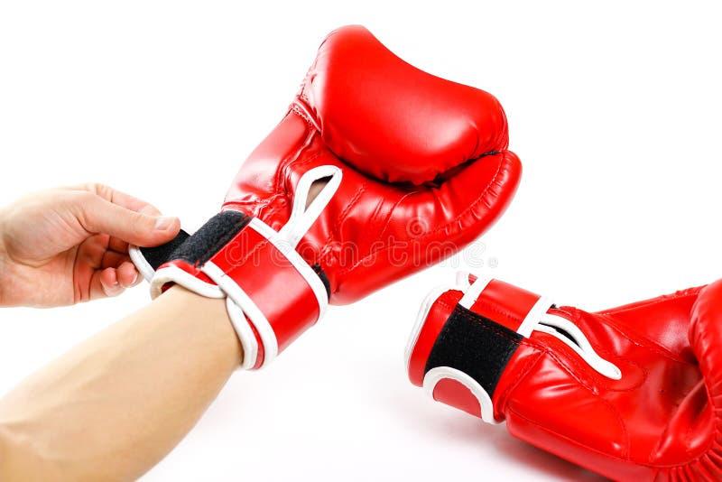 rękawice bokserskie czerwone Dwa rękawiczka sporta na białym backgr fotografia stock