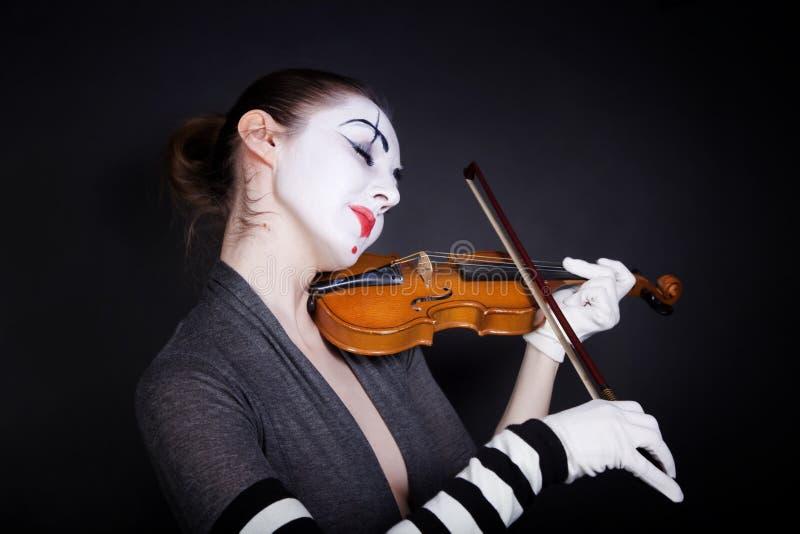 rękawiczka mim bawić się skrzypcowego biel który kobieta obrazy stock