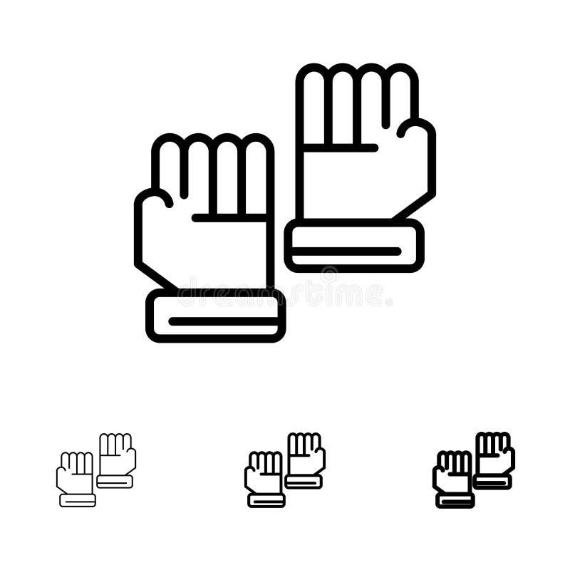 Rękawiczka, rękawiczki, bramkarz, Bawi się Śmiałego i cienkiego czerni linii ikony set ilustracja wektor