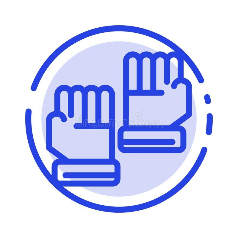 Rękawiczka, rękawiczki, bramkarz, Bawi się błękit Kropkującą linii linii ikonę royalty ilustracja