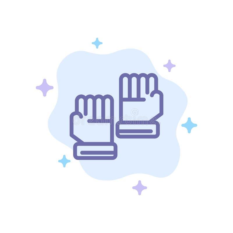 Rękawiczka, rękawiczki, bramkarz, Bawi się Błękitną ikonę na abstrakt chmury tle ilustracji