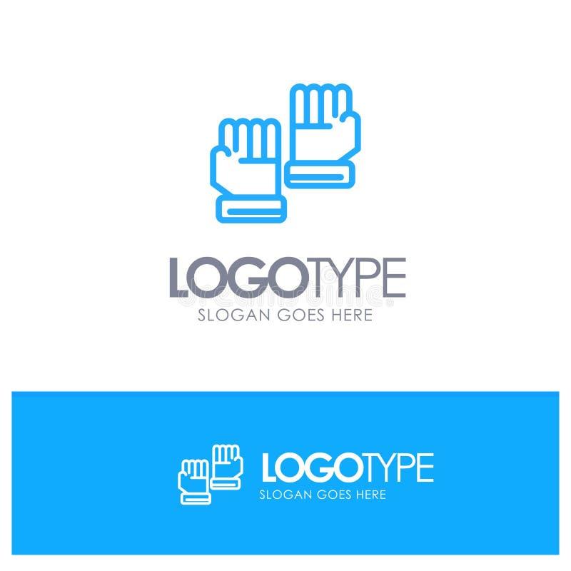 Rękawiczka, rękawiczki, bramkarz, Bawi się Błękitnego konturu logo z miejscem dla tagline royalty ilustracja