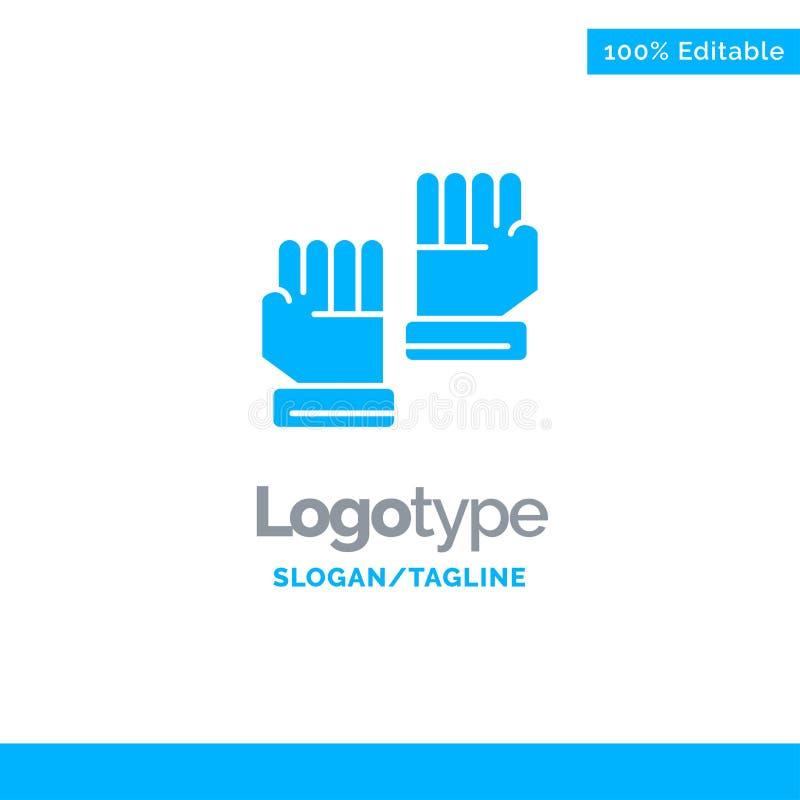 Rękawiczka, rękawiczki, bramkarz, Bawi się Błękitnego Stałego logo szablon Miejsce dla Tagline ilustracji