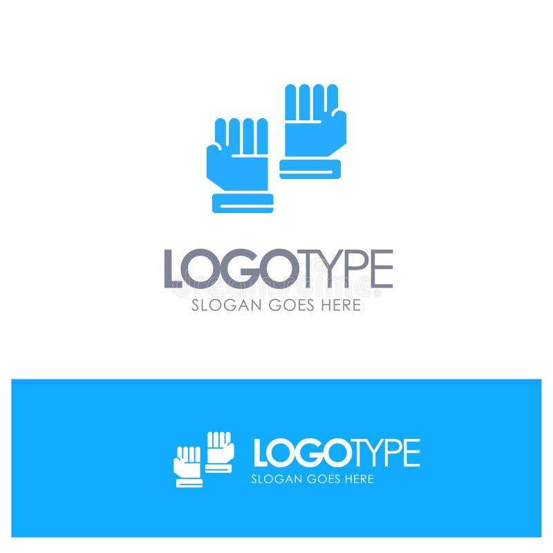 Rękawiczka, rękawiczki, bramkarz, Bawi się Błękitnego Stałego logo z miejscem dla tagline ilustracja wektor