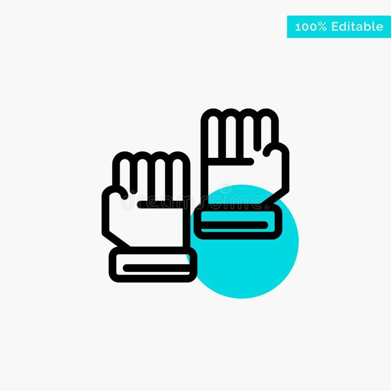 Rękawiczka, rękawiczki, bramkarz, sport głównej atrakcji okręgu punktu wektoru turkusowa ikona ilustracja wektor