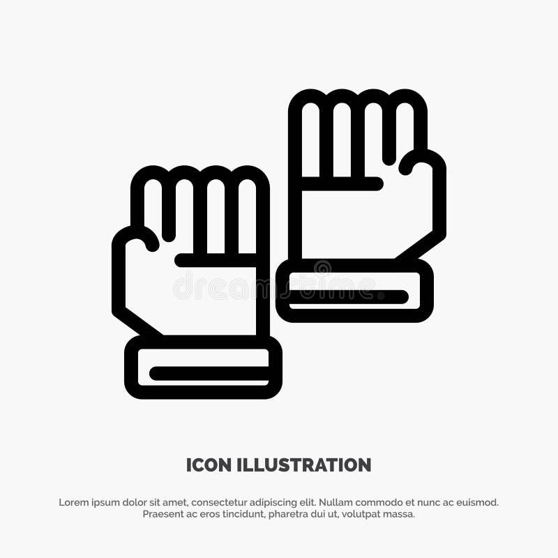 Rękawiczka, rękawiczki, bramkarz, sport ikony Kreskowy wektor royalty ilustracja