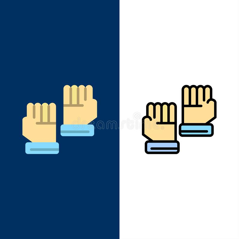 Rękawiczka, rękawiczki, bramkarz, sport ikony Mieszkanie i linia Wypełniający ikony Ustalony Wektorowy Błękitny tło ilustracja wektor