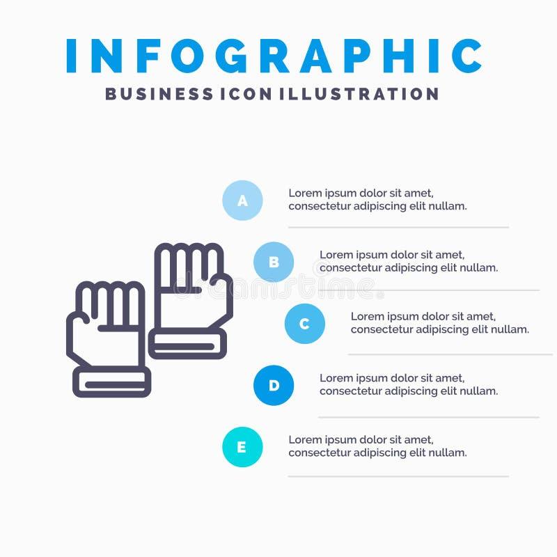 Rękawiczka, rękawiczki, bramkarz, sport Kreskowa ikona z 5 kroków prezentacji infographics tłem ilustracja wektor