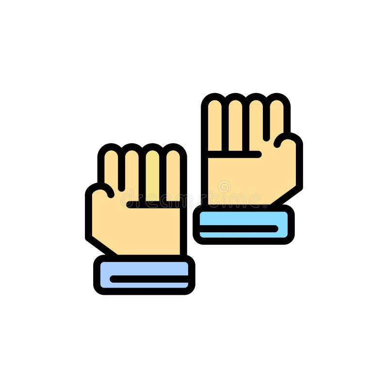 Rękawiczka, rękawiczki, bramkarz, sporta koloru Płaska ikona Wektorowy ikona sztandaru szablon royalty ilustracja