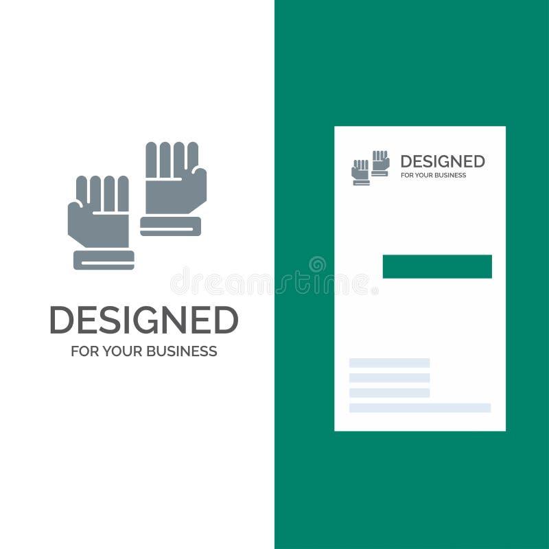 Rękawiczka, rękawiczki, bramkarz, sporta logo Popielaty projekt i wizytówka szablon, ilustracji