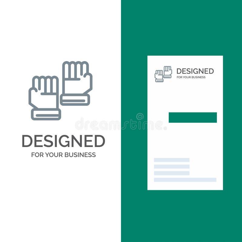 Rękawiczka, rękawiczki, bramkarz, sporta logo Popielaty projekt i wizytówka szablon, ilustracja wektor