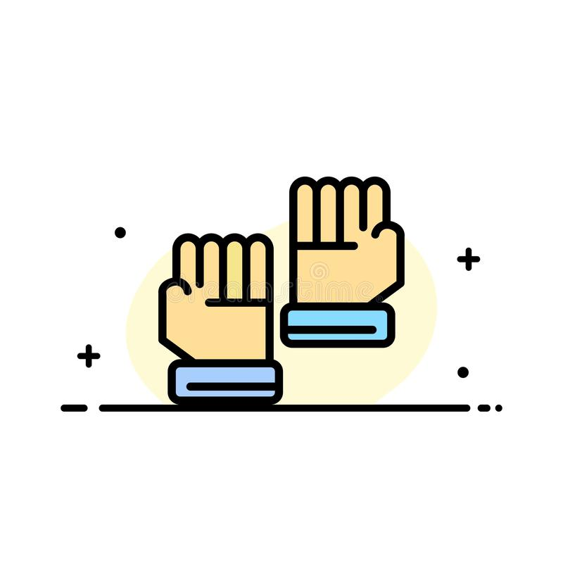 Rękawiczka, rękawiczki, bramkarz, sporta mieszkania ikony sztandaru Biznesowa linia Wypełniający Wektorowy szablon ilustracji
