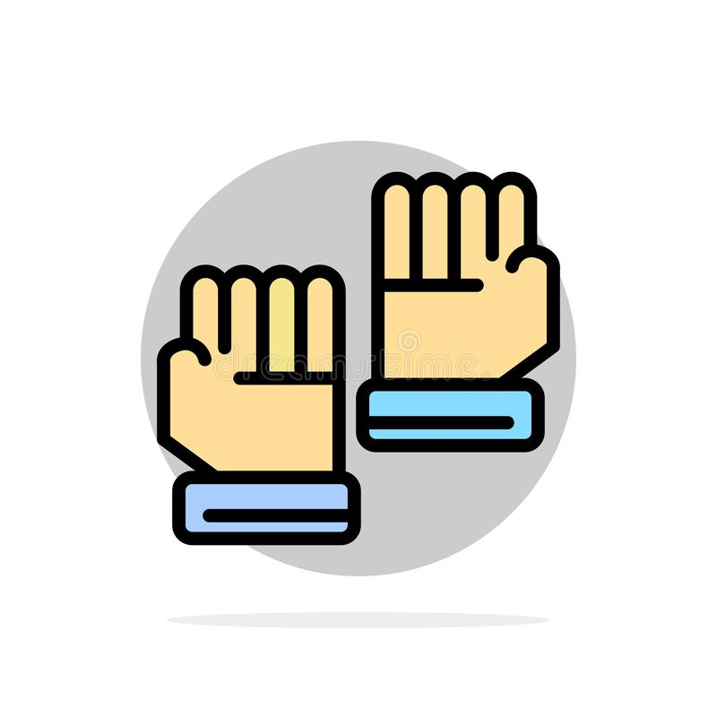 Rękawiczka, rękawiczki, bramkarz, sporta okręgu Abstrakcjonistycznego tła koloru Płaska ikona ilustracji