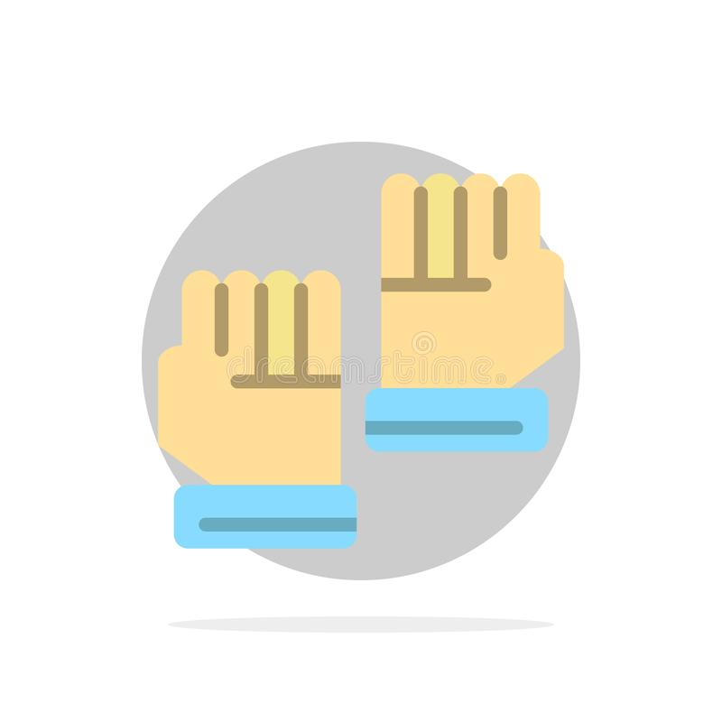 Rękawiczka, rękawiczki, bramkarz, sporta okręgu Abstrakcjonistycznego tła koloru Płaska ikona ilustracja wektor