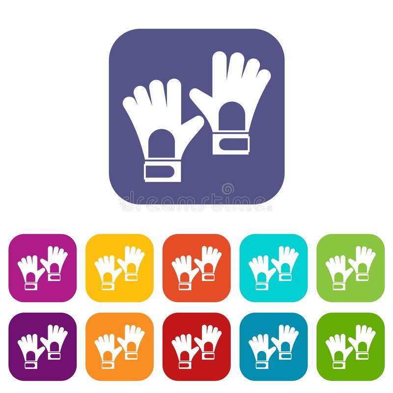 Rękawiczki bramkarza ikona ustawiający mieszkanie ilustracja wektor