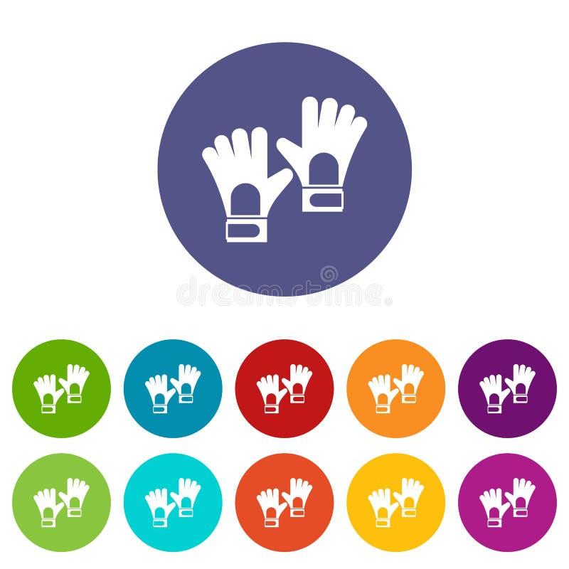 Rękawiczki bramkarza ikona ustawiający płaski wektor ilustracji