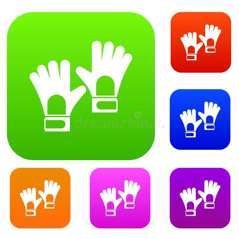 Rękawiczki bramkarza setu koloru kolekcja ilustracji