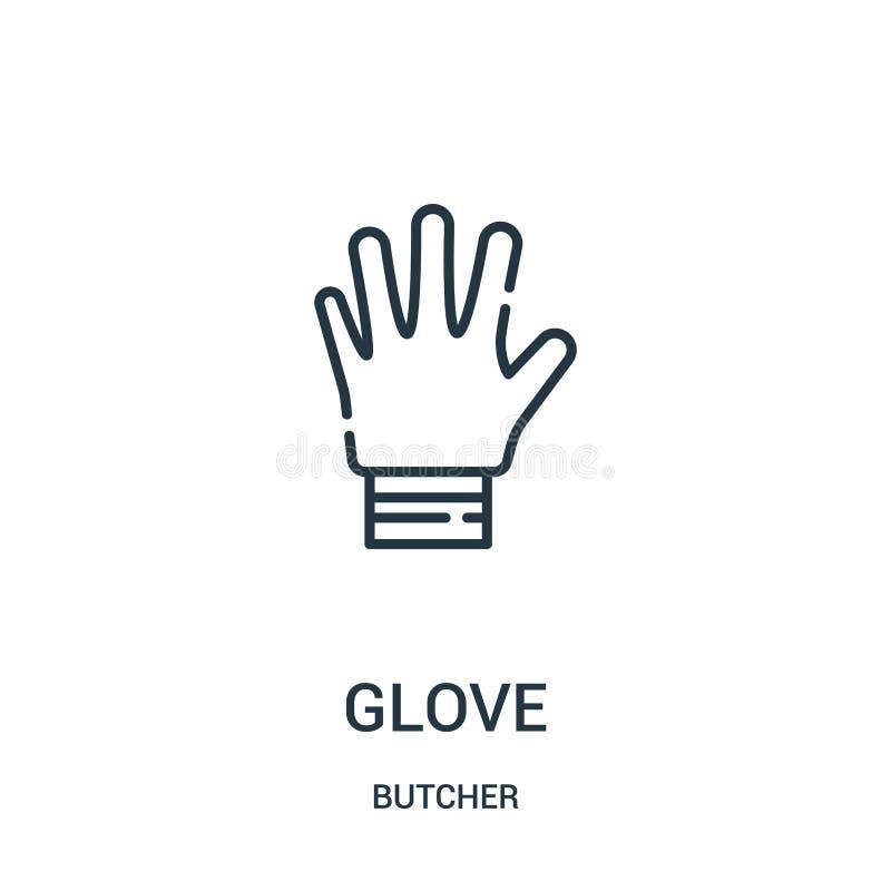 rękawiczkowy ikona wektor od masarki kolekcji Cienka kreskowa rękawiczkowa kontur ikony wektoru ilustracja Liniowy symbol dla uży ilustracja wektor