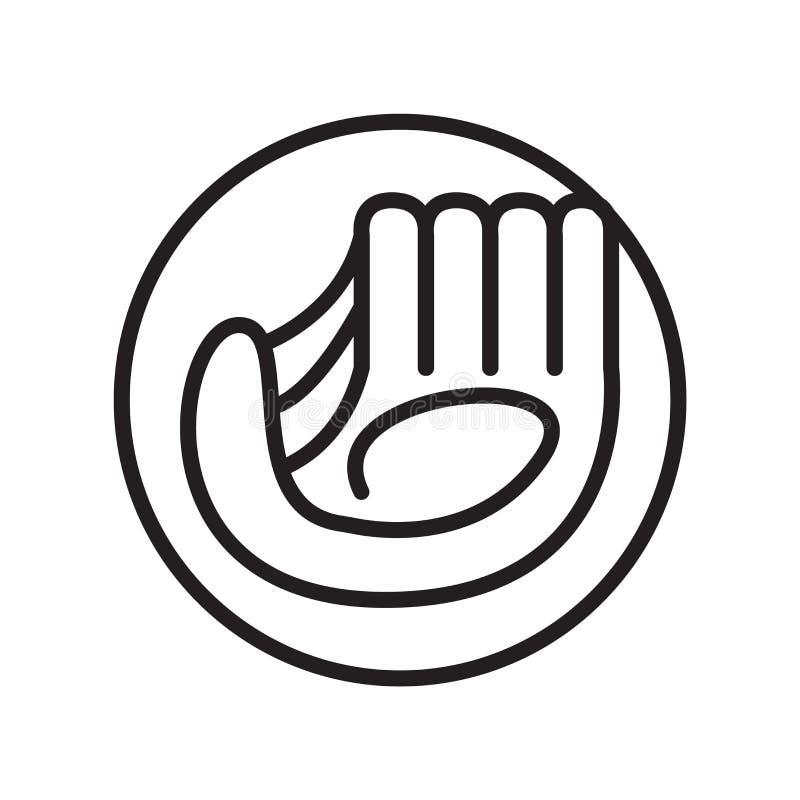 Rękawiczkowy ikona wektor odizolowywający na białym tle, rękawiczka znak, liniowi sportów symbole ilustracji