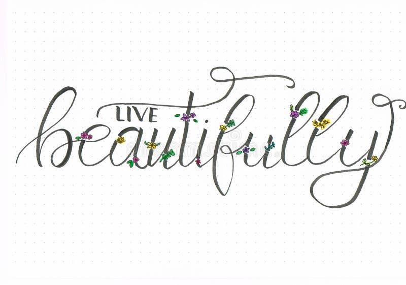` ` ręki Żywy literowanie z kwitnącymi i kolorowymi kwiatami pięknie royalty ilustracja