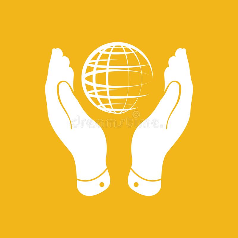 ręki biorą opiekę kuli ziemskiej planety ikona na żółtym tle ilustracji