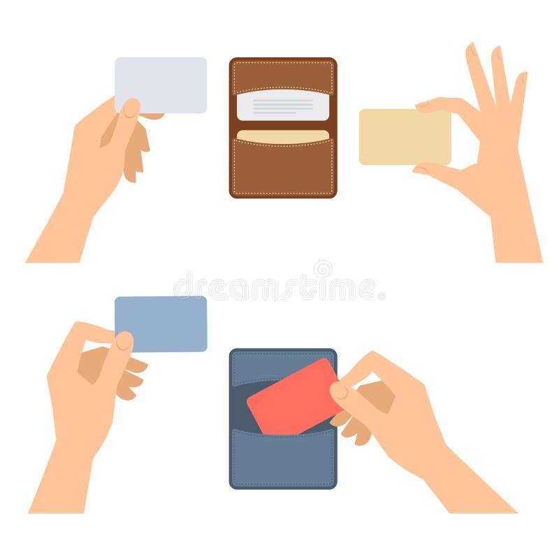 Ręki biorą out wizytówkę od właściciela, trzymają kredytowe karty ilustracji