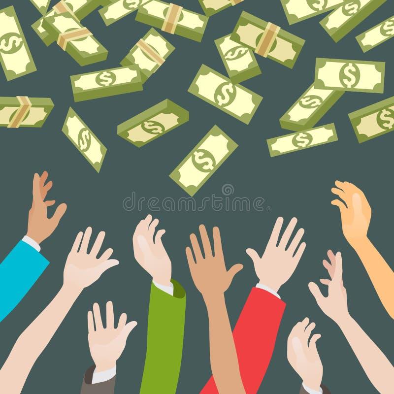 Ręki, chwytający pieniądze spada od above royalty ilustracja