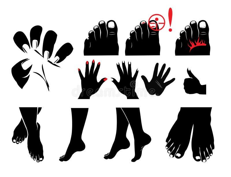 Ręki, cieki, gwoździe, gwoździa grzyb świerzbieje i pali, ilustracja wektor
