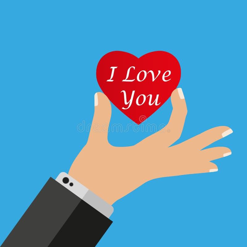Ręki daje czerwonemu sercu Wektorowy ilustracyjny płaski projekt serce mi gospodarstwa Symbol dobroczynność, miłość, szczerość royalty ilustracja