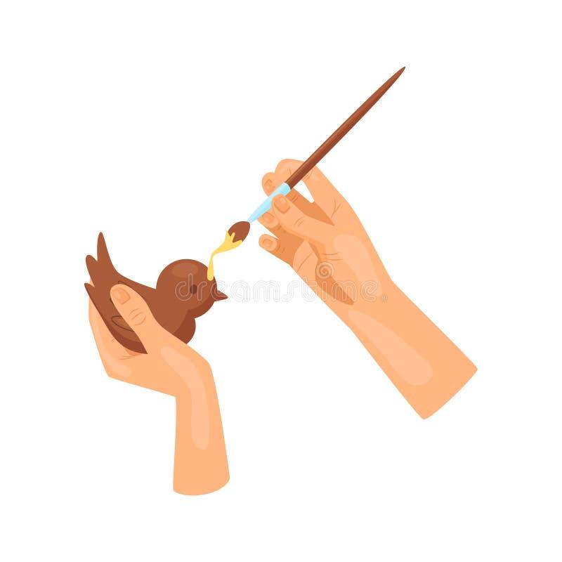 Ręki dekorują drewnianą postać ptak z żółtą farbą używać muśnięcie Sztuki i rzemiosło Hobby i czasu wolnego temat Płaski wektor ilustracji