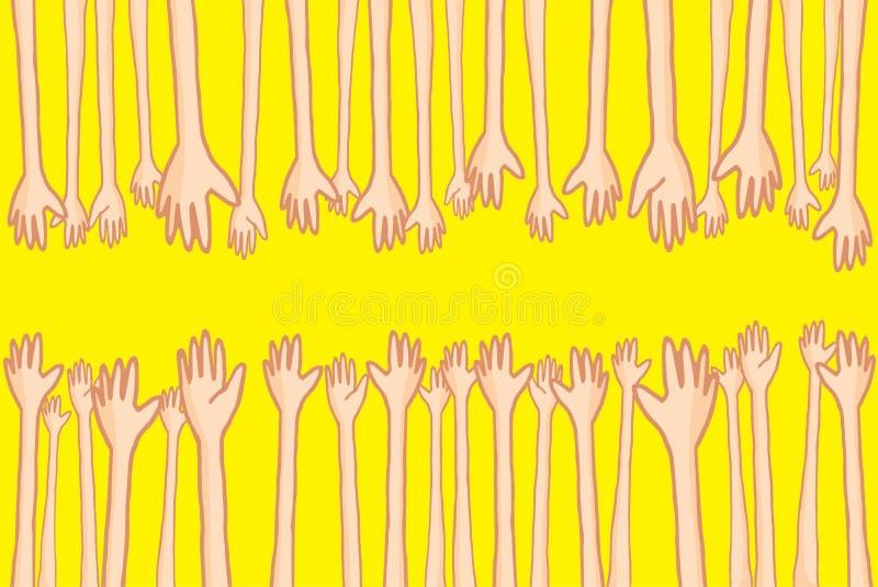 Ręki dosięga out i pomaga udziały złączeni ludzie royalty ilustracja
