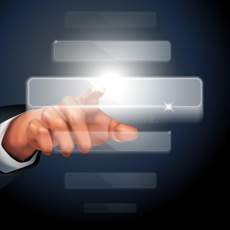 Ręki dosunięcia dotyka ekranu interfejs ilustracji