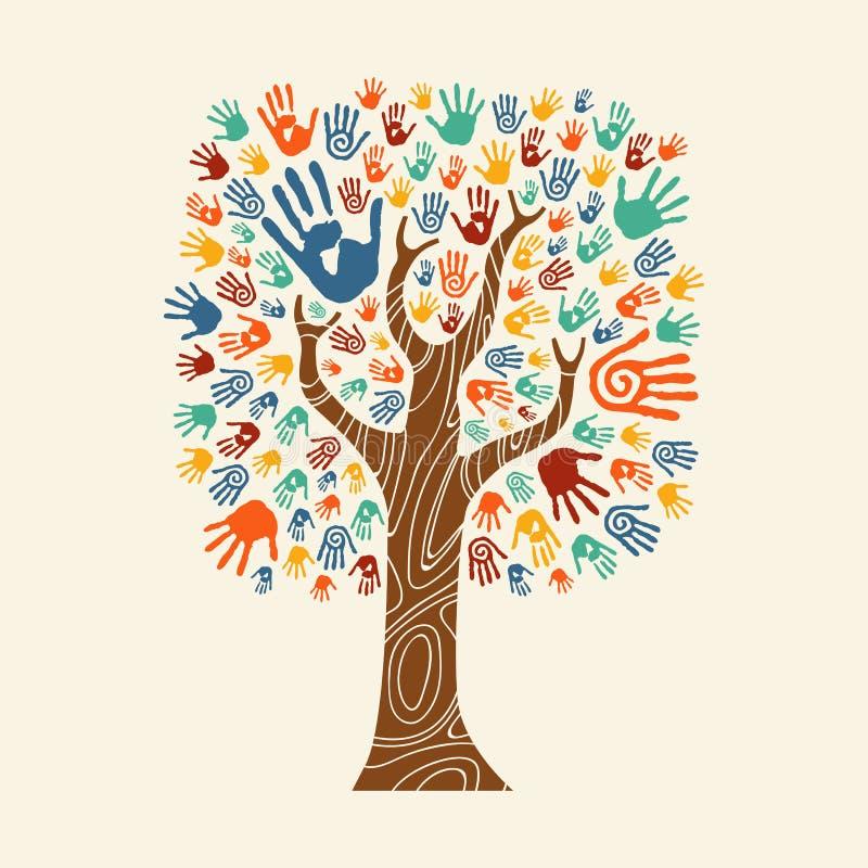 Ręki drzewna ilustracyjna kolorowa różnorodna społeczność royalty ilustracja