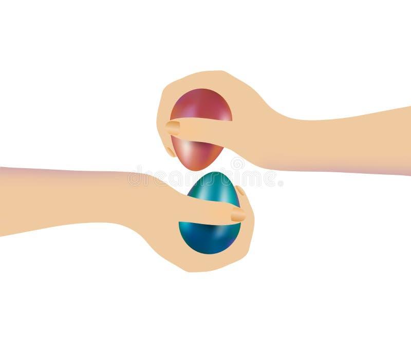 Ręki dwa ludzie graczów bawić się w tradycyjnej Chrześcijańskiej grą z farbującymi Wielkanocnymi jajkami odizolowywający royalty ilustracja