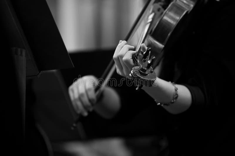 Ręki dziewczyna bawić się skrzypce zdjęcie royalty free