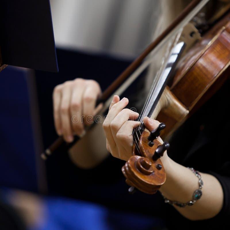 Ręki dziewczyna bawić się skrzypce obraz stock