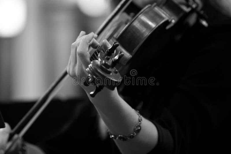 Ręki dziewczyna bawić się skrzypce fotografia royalty free