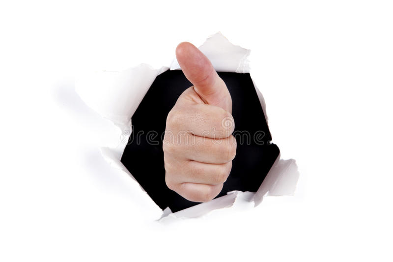 ręki dziury ok znak przez ściany zdjęcia stock