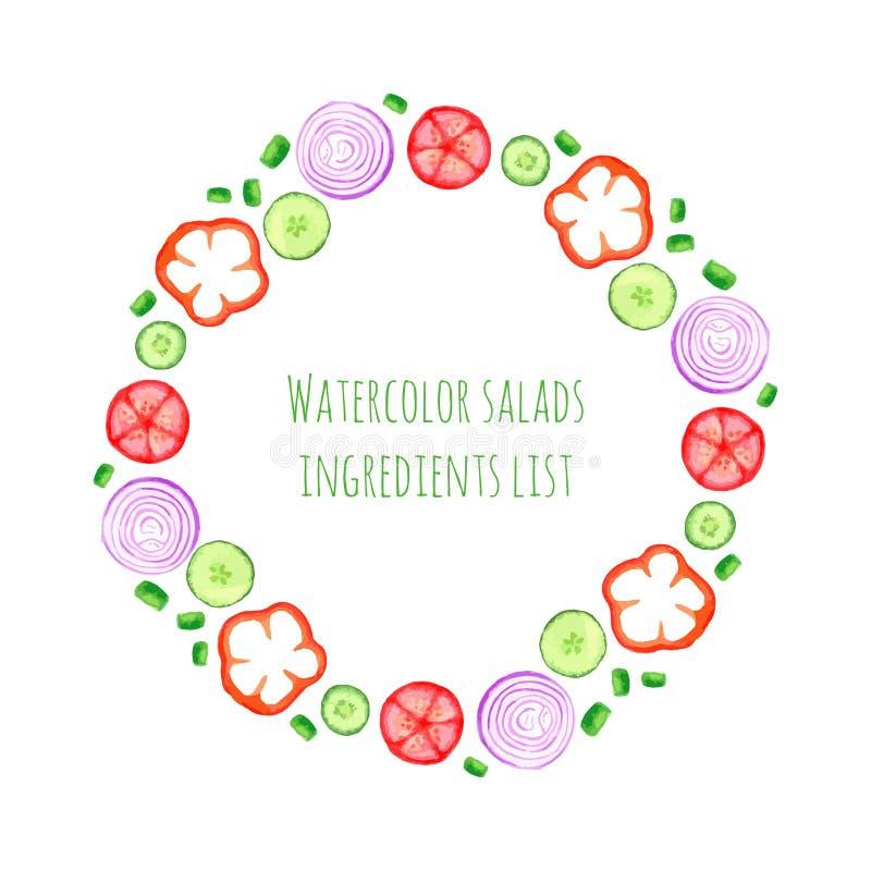 Ręki farby akwareli wektoru rama z warzywami ustawiającymi - cebula, pieprz, ogórek, pomidor Lato składniki inkasowi dla sałatki ilustracji